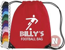 Personalised football boots kit bag. Drawstring PE school - add child's name