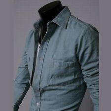 2014 New Men's Fashion Jeans Slim Long-sleeved Denim Shirt Charm Boy Clothing F