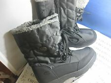NEW GIRL's TOTES RHONDA Black Winter/Rain Faux Fur Insulated Waterproof Boots