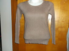 """NEW  LADY'S GEORGE TOASTED HEATHER POWER RIB SCOOP' NECK"""" LIGHT WEIGHT  SWEATER"""