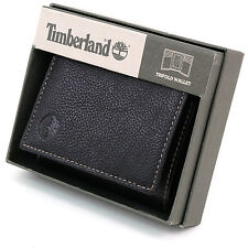 Timberland Trifold Wallet Genuine Pebble Grain Leather Gift Box 6 + 2 Card Slots