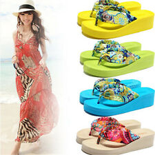 Hot Women Summer High-heeled  Thick Flip Flops Sandals Beach Slippers Shoes 09