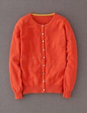 Boden Women's BNWT Crew Neck 100% Cashmere Cardigan Flame Orange