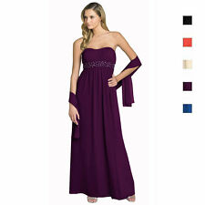 Beaded Strapless Formal Long Evening Gown Bridesmaid Dress with Shawl ed0848