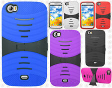 For BLU Life View L110a Hard Gel Rubber KICKSTAND Case Phone Cover Accessory