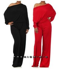 PLUS ON OFF SHOULDER DOLMAN SLEEVE OPEN BACK REVERSIBLE WIDE LEG DRESS JUMPSUIT