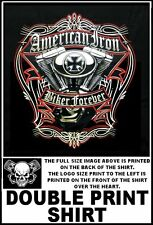 AMERICAN BIKER FOREVER MALTESE CROSS V-TWIN ENGINE MOTORCYCLE RIDER T-SHIRT W542