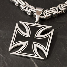 IRON CROSS STAINLESS STEEL PENDANT Knight Templar Cross Biker Silver Necklace EK