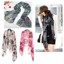 Fashion Womens Begonia Flower Ink Style Long Cotton Neck Scarf Shawl Stole Wrap