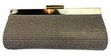 Faux Leather Diamante Clutch Bag Metallic Color Evening Designer Diamond Gems