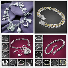 Wholesale Fashion Jewellery Solid925 Silver Bracelet/bangle Lady Mens + Gift box