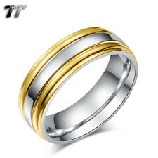 TT 7mm Gold Stripe Stainless Steel Engagement Wedding Comfort Band Ring (R301)