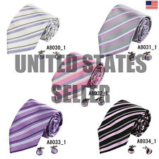 YAB2A03 Varity of Colored Interview Mens Stripes Silk Tie Set 2PT By Y&G