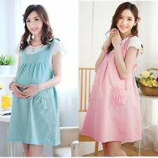 Womens Pregnant Maternity Cotton polka dot Dress Short Sleeve Dress Pink Blue