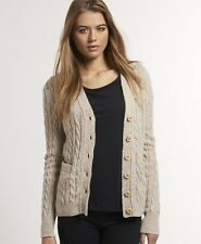 New Womens Superdry Westminster Cardigan Oatmeal Nep Beige