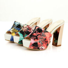 Sexy Womens Fashion Peep Toe Floral Chunky Heel Platfrom Mules Slippers Sandals