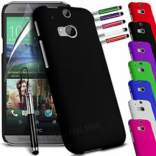HARD BACK SKIN CASE COVER, SCREEN GUARD & STYLUS PEN FOR HTC ONE M8
