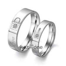 A pair of Wedding Design Steel Titanium Rings Engage Couple Key and Lock HOT