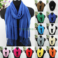 Fashion Women's Solid Color Soft Cotton Long Scarf Shawl Tassel/Infinity Scarf