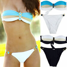 WOMEN Striped Push up Strapless Padded TOP RING BOTTOM BIKINI Swimsuit Swimwear