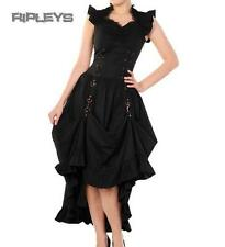 BANNED Victorian Black/Copper STEAMPUNK DRESS Ruffle Adjustable All Sizes