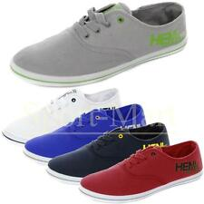 Henleys Josh Canvas Lace Up Pumps Plimsolls Flat Trainers Shoes Mens Size