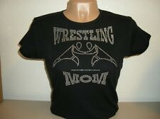 Wrestling Mom Hot Fix Rhinestone Transfer Bling Womens Black Shirt MADE IN USA