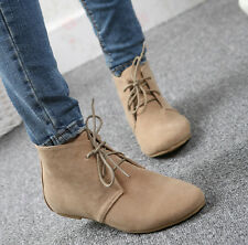 Womens Leisure Ankle Booties Lace Up Faux Suede Flats Oxfords Shoes Summer Round