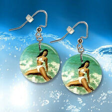 """**BETTIE PAGE** Choice Pin Up 1"""" Button Dangle Earrings *FREE PIN* ~~USA Seller"""