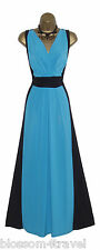 Long Black/Turquoise Colour Block Grecian Maxi Evening Dress Party/Cruise