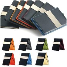 Synthetic Leather Slim Pocket Cash Money Clip Wallet Credit ID Card Holder.