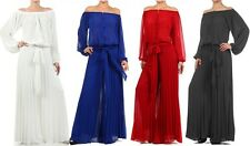 OFF SHOULDER LONG SLEEVE PEASANT BOHO PLEATED WIDE LEG CHIFFON DRESS JUMPSUIT