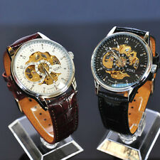 SOKI White Black Analog Skeleton Mens Mechanical Automatic Wrist Leather Watch