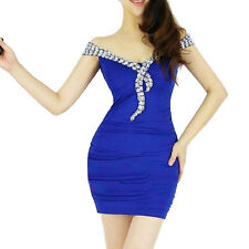 Sexy Women Boat Neck Club Ball Party Cocktail Evening SHORT Mini Bodycon Dress