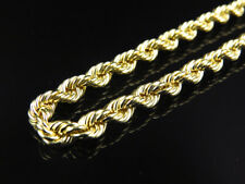 Mens or Ladies 10K Yellow Gold 5MM Hollow Rope Chain Necklace 22-30 Inches