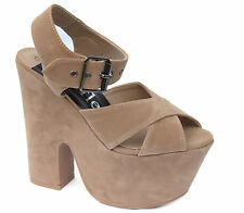 WOMENS LADIES DEMI WEDGE HEELS SANDALS SHOES BOOTS TAN PLATFORM ANKLE SIZE