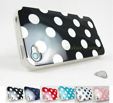 for Apple iPhone 4 4S Polka Dots TPU Skin Case Cover Accessory +PryTool