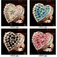 r302m93 Charm Gold Plate Heart LOVE Zircon CZ Gemstone Wedding Adjustable Ring