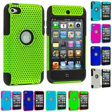 For Apple iPod Touch 4th Generation 4G Hybrid Rugged Mesh Hard Soft Case Cover
