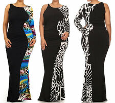 BLACK MULTI-COLOR LEOPARD HOURGLASS CUT OUT ONE SHOULDER MERMAID MAXI DRESS