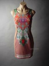 Colorful Mehndi Henna Tattoo Design Ethnic India Brown Sheath 33 mv Dress S M L