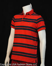 Tommy Hilfiger Men's Plo Custom Fit Red Striped NWT