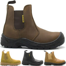 MENS BLACK LEATHER SLIP ON SAFETY DEALER ANKLE LADIES BOOTS SHOES SIZES 3-13 UK