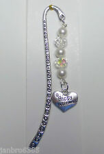 Retirement Gift Charm Bookmark handmade using Swarovski Elements Pearls/Crystals