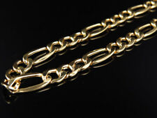 New Genuine 10k Yellow Gold Hollow Figaro Style Chain Necklace 7 mm 20-36 Inches