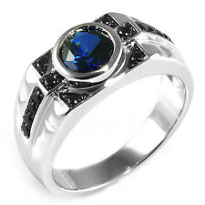 4.5ct NEW Spinel Saphire Men's Ring Solid 925 Sterling Silver Size 8 9 10 11 12