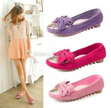 Ladies Genuine Leather Shiny Sequins Bow Tie Ballerina Pumps Loafers Shoes N-22