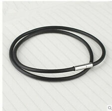 3mm Round Genuine Leather Cord Necklace Choker Lobster Clasp Stainless Steel
