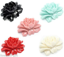 5 Resin Peony Embellishments Jewelry Making Findings 46x36mm M0055