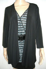 NEW Style & Co 3/4 Slv Criss Cross V Ruffle front Top Faux Belt & Jacket  1X  2X